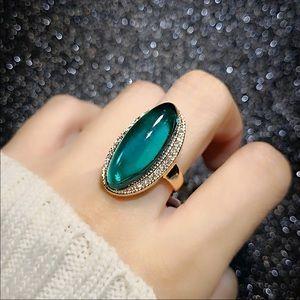 18k rose gold green Austrian gemstone ring women's
